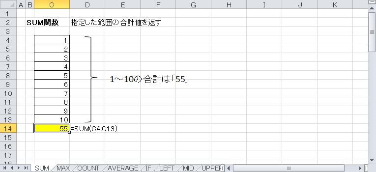 SUM関数を使って合計を表示