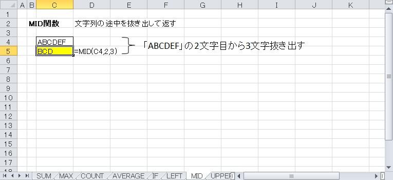 MID関数を使って抜き出した文字を表示